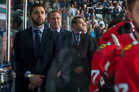 KELOWNA, CANADA - APRIL 7: Assistant Coach Oliver David stands on the bench during the national anthem against the Kelowna Rockets on April 7, 2017 at Prospera Place in Kelowna, British Columbia, Canada.  (Photo by Marissa Baecker/Shoot the Breeze)  *** Local Caption ***