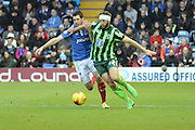 Jon Meades of AFC Wimbledon and Danny Hollands during the Sky Bet League 2 match between Portsmouth and AFC Wimbledon at Fratton Park, Portsmouth, England on 15 November 2015. Photo by Stuart Butcher.