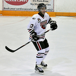 BURLINGTON, ON - Nov 10 : Ontario Junior League Game Action between, the Milton Icehawk's Hockey Club and the Burlington Cougar's Hockey Club. Tye Campbell #17 of the Milton Icehawks during second period game action..(Photo by Jennifer-Rose DeVincentis / OJHL Images)