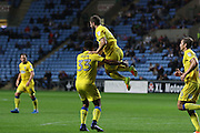 AFC Wimbledon defender Jon Meades (3) scores a goal 1-1 and celebrates with AFC Wimbledon striker Lyle Taylor (33) during the EFL Sky Bet League 1 match between Coventry City and AFC Wimbledon at the Ricoh Arena, Coventry, England on 28 September 2016. Photo by Stuart Butcher.