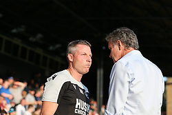 Millwall manager Neil Harris and Southend United manager Kevin Bond chat before kick off - Mandatory by-line: Arron Gent/JMP - 24/07/2019 - FOOTBALL - Roots Hall - Southend-on-Sea, England - Southend United v Millwall - pre season friendly