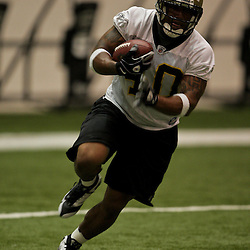21 May 2009: Saints undrafted rookie running back Herb Donaldson (40) participates in drills during the New Orleans Saints Organized Team Activities (OTA's) held at the team's indoor practice facility in Metairie, Louisiana.