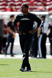SANTA CLARA, CA - OCTOBER 07: Head coach Steve Wilks of the Arizona Cardinals looks on during warm ups prior to their game against the San Francisco 49ers at Levi's Stadium on October 7, 2018 in Santa Clara, California. (Photo by Jason O. Watson/Getty Images)
