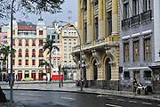 A rainy day in the Centro district neighborhood looking toward the Avenue Republica do Paraguai in Rio de Janeiro, Brazil.