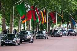 London, UK. 3 June, 2019. President Trump's motorcade makes its way to Westminster Abbey from Buckingham Palace on the first day of his state visit to the UK.