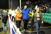 An Eastleigh fan is removed from the ground before the The FA Cup match between Eastleigh and Swindon Town at Arena Stadium, Eastleigh, United Kingdom on 4 November 2016. Photo by Graham Hunt.