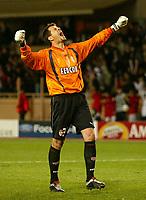 Photo: Scott Heavey, Digitalsport<br /> NORWAY ONLY.<br /> Monaco v Chelsea.  Champions League Semi Final, first leg. 20/04/2004.<br /> The Monaco keeper Flavio Roma celebrates Monaco's second