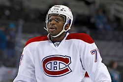 Dec 1, 2011; San Jose, CA, USA; Montreal Canadiens defenseman P.K. Subban (76) warms up before the game against the San Jose Sharks at HP Pavilion.  San Jose defeated Montreal 4-3 in shootouts. Mandatory Credit: Jason O. Watson-US PRESSWIRE