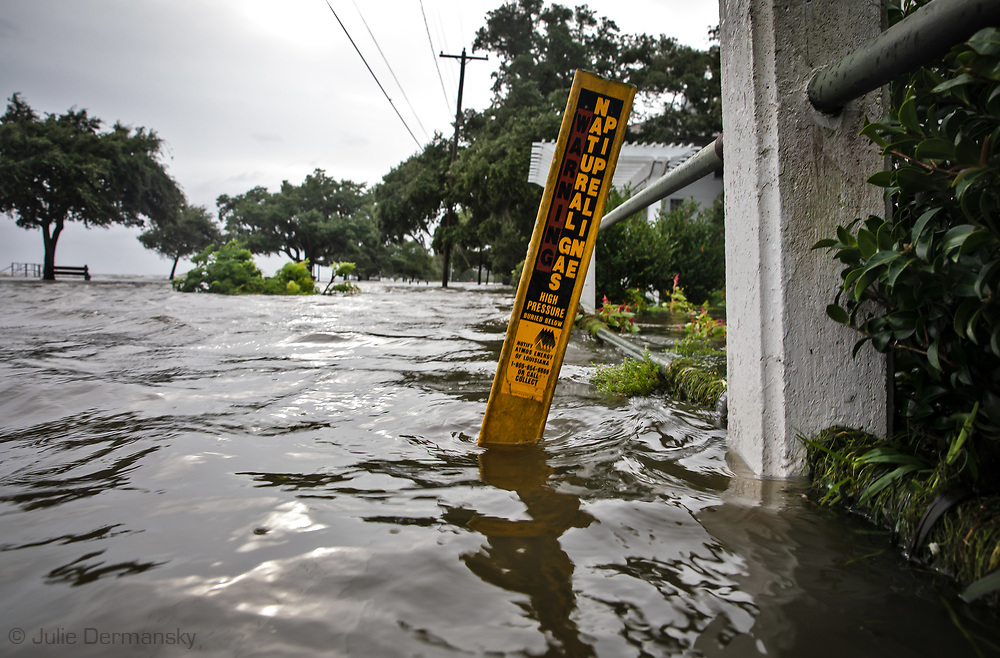 Floodwaters from Lake Pontchartrain in Mandeville on the lake's northshore on July 13 when Tropical Storm Barry reached Hurricane status.  This area often floods when big storms hit the region.