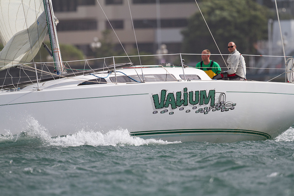 Valium sailed by Gary Kirkland-Smith and Damon Joliffe at the Wellington restart of Round North Island two-handed yacht race. Wellington, New Zealand. 2 March 2011. Photo: Gareth Cooke/Subzero Images