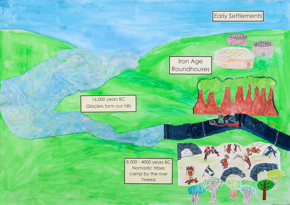 Art work created by pupils at St Josephs PS, Selkirk and Crookham PS , Northumberland. The work was supported by the Selkirk CARS project