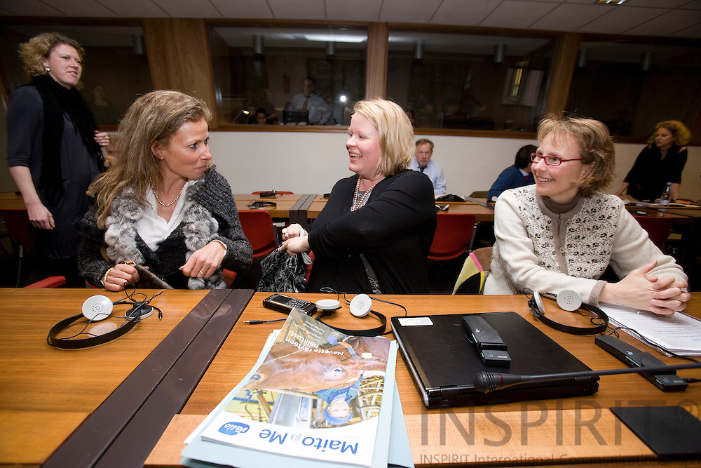BRUSSELS - BELGIUM - 04 MARCH 2009 --  Francoise HOSSAY (Le), Managing Director, European Fur Breeders Association (EFBA). attending a COPA meeting about animal welfare and here speaking to the finnish representatives Hanna LEIPONEN-SYYRAKKI, Finnish Agriculture and Cooperatives and her partner Minnami MIKKOLA, Veterinarian. Photo: Erik Luntang