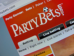 Detail of online betting website PartyBets homepage screen shot