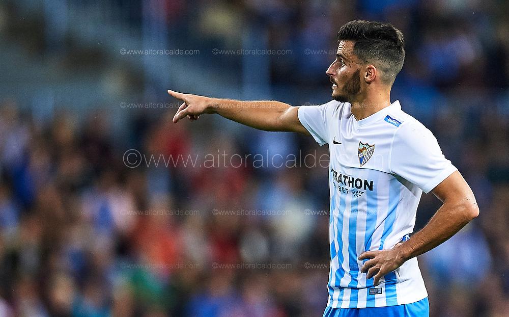 MALAGA, SPAIN - DECEMBER 09:  Juan Carlos Perez of Malaga CF reacts during La Liga match between Malaga CF and Granada CF at La Rosaleda Stadium December 9, 2016 in Malaga, Spain.  (Photo by Aitor Alcalde Colomer/Getty Images)