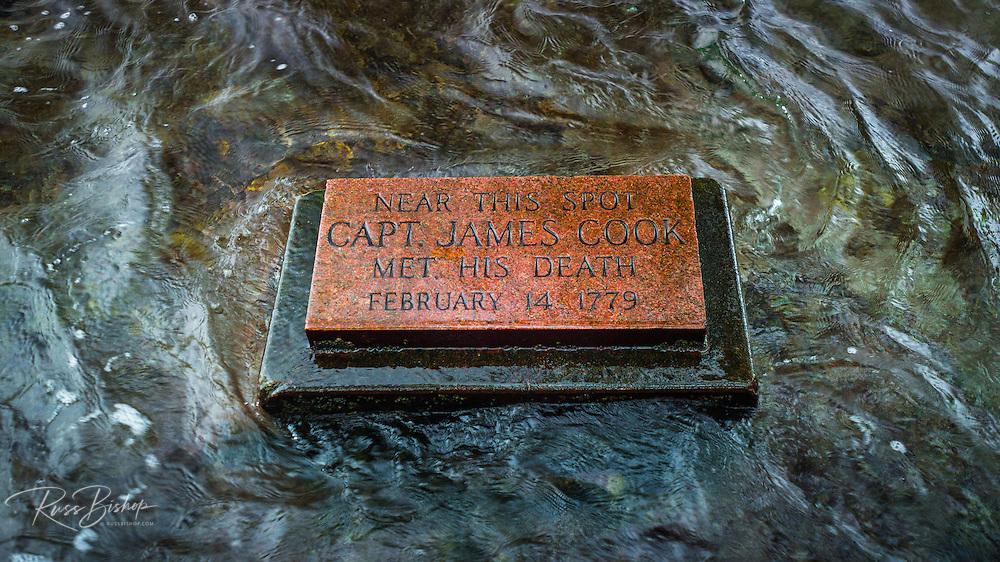 Plaque marking the spot where Captain James Cook was killed, Kealakekua Bay, Kona Coast, Hawaii USA