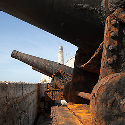 Rusting coast artillery guns dating from the 1870s guarding the entrance to Havana bay in Morro Castle, Cuba.