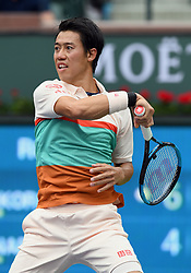 March 10, 2019 - Indian Wells, CA, U.S. - INDIAN WELLS, CA - MARCH 10: Kei Nishikori (JPN) in action in the second set of a match played at the BNP Paribas Open on March 10, 2019 at the Indian Wells Tennis Garden in Indian Wells, CA. (Photo by John Cordes/Icon Sportswire) (Credit Image: © John Cordes/Icon SMI via ZUMA Press)