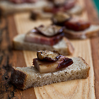 Appetizers arranged on a wood board at The Picnic at the Brick Works 2010.