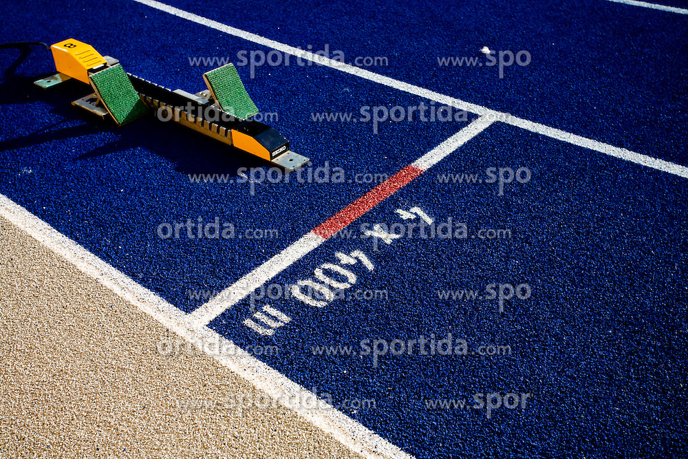 Start's block at the men's 4x400 m Relay Final during the day nine of the 12th IAAF World Athletics Championships at the Olympic Stadium on August 23, 2009 in Berlin, Germany. (Photo by Vid Ponikvar / Sportida)
