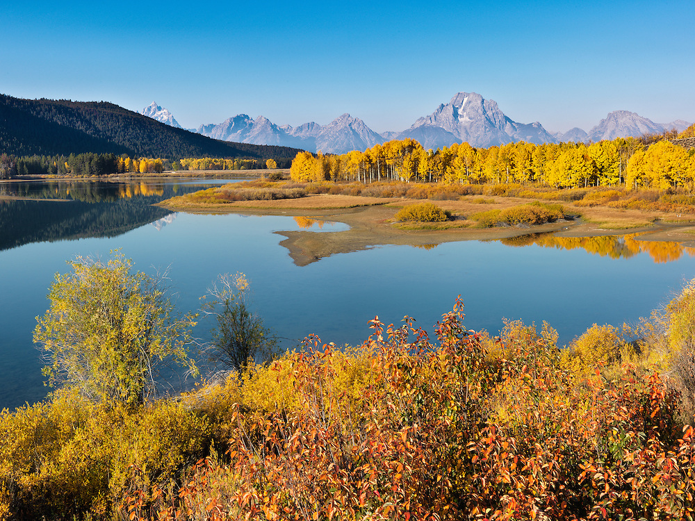 Autumn morning at the Oxbow just below Jackson Dam on the South Fork of the Snake River in Teton National Park near Jackson Wyoming