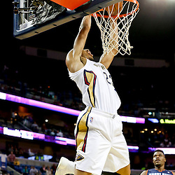 Nov 2, 2013; New Orleans, LA, USA; New Orleans Pelicans power forward Anthony Davis (23) dunks against the Charlotte Bobcats during the first half of a game at New Orleans Arena. Mandatory Credit: Derick E. Hingle-USA TODAY Sports