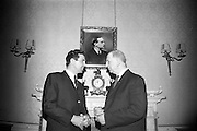 President Eamon de Valera recieved Brendan O'Dowda at Áras an Uachtaráin.  O'Dowda presented the President with 'a message of loyalty and admiration' from the Friendly Sons of Saint Patrick, Las Vegas, and from Judge John Mowbray, Past President of the Friendly Sons. Mr. O'Dowda, who recently returned from Las Vegas after a months visit, was accompanied by his mother, Mrs. Josephine O'Dowda, and members of his family..13.05.1967