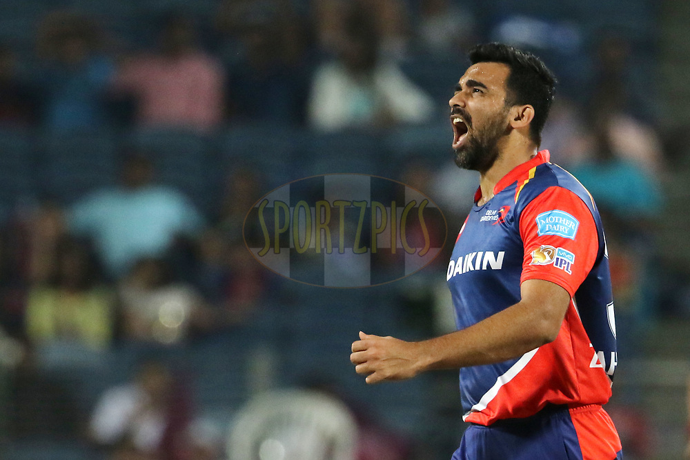 Zaheer Khan captain of the Delhi Daredevils celebrates the wicket of Mayank Agarwal of Rising Pune Supergiant during match 9 of the Vivo 2017 Indian Premier League between the Rising Pune Supergiants and the Delhi Daredevils held at the MCA Pune International Cricket Stadium in Pune, India on the 11th April 2017<br /> <br /> Photo by Vipin Pawar- IPL - Sportzpics