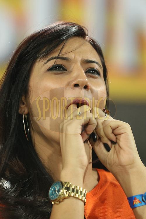 Telegu actress Isha Chawla enjoying during match twenty five of the Vivo Indian Premier League 2018 (IPL 2018) between the Sunrisers Hyderabad and the Kings XI Punjab  held at the Rajiv Gandhi International Cricket Stadium in Hyderabad on the 26th April 2018.<br /> <br /> Photo by Saikat Das /SPORTZPICS for BCCI