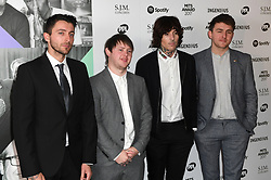 Left to right, Jordan Fish, Lee Malia, Oliver Sykes and Matt Nicholls from Bring Me The Horizon arriving for the 26th Annual Music Industry Trusts Awards held at the Grosvenor House Hotel, London. Picture credit should read: Doug Peters/Empics Entertainment