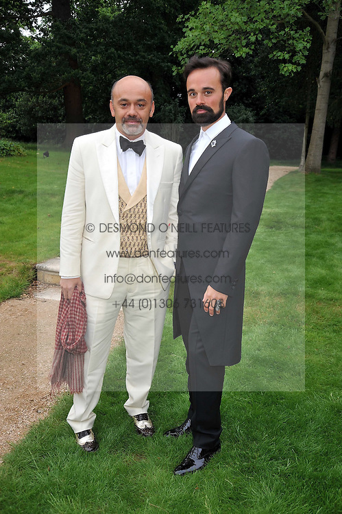 Left to right, Christian Louboutin and EVGENY LEBEDEV at the Raisa Gorbachev Foundation fourth annual fundraising gala dinner held at Stud House, Hampton Court, Surrey on 6th June 2009.