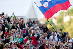 Fans of Primoz Peterka waiting for his last jump in his very successful career, he is one of the best ski jumpers in history, on July 2, 2011, in Kranj, Slovenia. (Photo by Vid Ponikvar / Sportida)