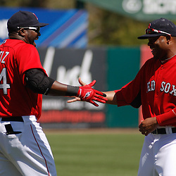 March 7, 2011; Fort Myers, FL, USA; Boston Red Sox designated hitter David Ortiz (34) and left fielder Carl Crawford (13) before a spring training exhibition game against the Baltimore Orioles at City of Palms Park.   Mandatory Credit: Derick E. Hingle