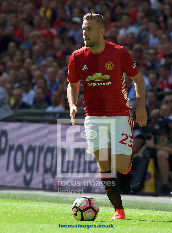 Luke Shaw of Manchester United during the FA Community Shield match at Wembley Stadium, London<br /> Picture by Alan Stanford/Focus Images Ltd +44 7915 056117<br /> 07/08/2016