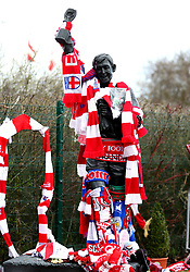 A general view of the tributes surrounding the Gordon Banks statue outside the bet365 Stadium, Stoke.