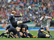 Twickenham, GREAT BRITAIN,  Oxfords' Stuart COMMINS, clears from behind the ruck, during the 2012 Varsity Rugby match.  Oxford vs Cambridge, at the RFU Stadium, Twickenham, Surrey. on Thursday  06/12/2012...[Mandatory Credit; Peter Spurrier/Intersport-images]