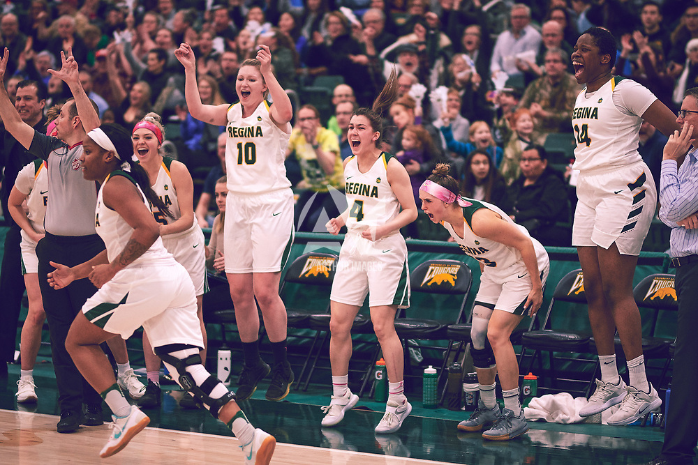 4th year guard, Avery Pearce (4) of the Regina Cougars during the Women's Basketball Home Game on Fri Feb 01 at Centre for Kinesiology,Health and Sport. Credit: Arthur Ward/Arthur Images
