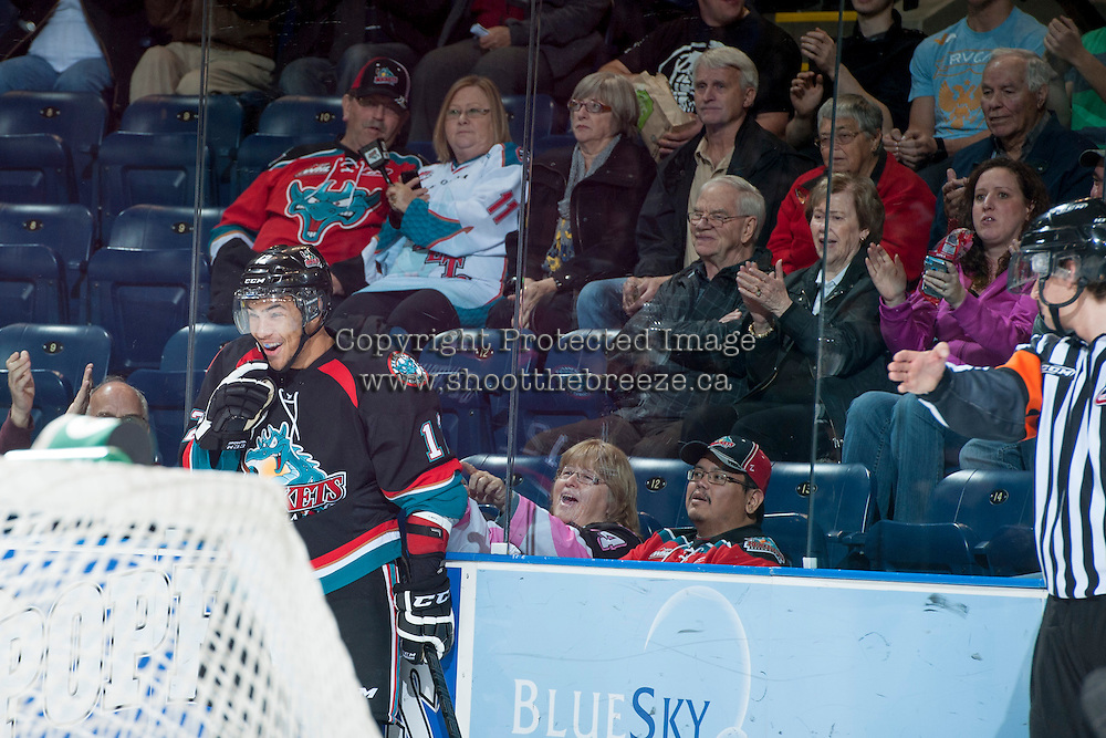 KELOWNA, CANADA, OCTOBER 16 -  Tyrell Goulbourne #12 of the Kelowna Rockets celebrates a goal against the Lethbridge Hurricanes on Wednesday, October 16, 2013 at Prospera Place in Kelowna, British Columbia (photo by Marissa Baecker/Getty Images)***Local Caption***