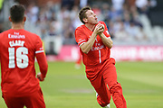 Lancashires James Falkner catches a ball during the Vitality T20 Blast North Group match between Lancashire Lightning and Durham Jets at the Emirates, Old Trafford, Manchester, United Kingdom on 7 August 2018.