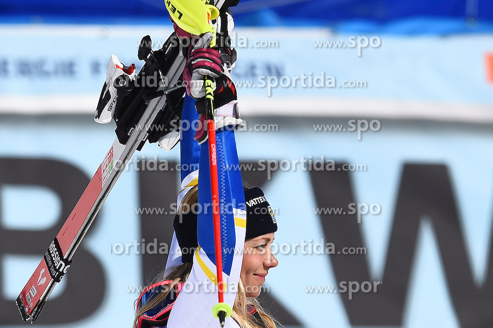 19.03.2016, Engiadina, St. Moritz, SUI, FIS Weltcup Ski Alpin, St. Moritz, Slalom, Damen, im Bild Frida Hansdotter (SWE) jubelt. // during ladie's Slalom of st. Moritz Ski Alpine World Cup finals at the Engiadina in St. Moritz, Switzerland on 2016/03/19. EXPA Pictures &copy; 2016, PhotoCredit: EXPA/ Freshfocus/ Manuel Lopez<br /> <br /> *****ATTENTION - for AUT, SLO, CRO, SRB, BIH, MAZ only*****