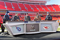 Jan 19, 2020; Kansas City, Missouri, USA; The CBS NFL Today hosts Phil Simms, Jim Brown, Bill Cowher, Nate Burleson and Boomer Esiason before the  the AFC Championship Game between the Kansas City Chiefs and the Tennessee Titans at Arrowhead Stadium. Mandatory Credit: Denny Medley-USA TODAY Sports