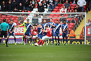 Charlton Athletic midfielder, Johann Berg Gudmundsson (7) with a free kick during the Sky Bet Championship match between Charlton Athletic and Birmingham City at The Valley, London, England on 2 April 2016. Photo by Matthew Redman.