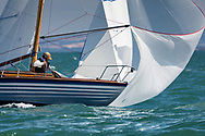 Richard Matthew's 1959 Scorpio competing in Cowes during the Panerai British Classic Sailing Week regatta against Michael Hough's Chloe Giselle. <br /> Picture date: Monday July 10, 2017.<br /> Photograph by Christopher Ison &copy;<br /> 07544044177<br /> chris@christopherison.com<br /> www.christopherison.com