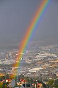 Rainbow over Haifa, Israel in winter December