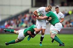 Harry Mallinder of England U20 takes on the Ireland U20 defence - Mandatory byline: Patrick Khachfe/JMP - 07966 386802 - 25/06/2016 - RUGBY UNION - AJ Bell Stadium - Manchester, England - England U20 v Ireland U20 - World Rugby U20 Championship Final 2016.