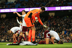 Thomas Heaton of Burnley checks on an injured Ben Mee - Mandatory by-line: Matt McNulty/JMP - 06/01/2018 - FOOTBALL - Etihad Stadium - Manchester, England - Manchester City v Burnley - Emirates FA Cup Third Round