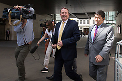 © Licensed to London News Pictures. 26/05/2019. London, UK. Secretary of State for International Trade LIAM FOX is seen leaving BBC Broadcasting Houses in London. A number of Conservative MPs have entered the race to be the new leader of the party. Photo credit: George Cracknell Wright/LNP