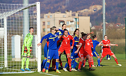 ZENICA, BOSNIA AND HERZEGOVINA - Tuesday, November 28, 2017: Wales' Natasha Harding and Rachel Rowe during the FIFA Women's World Cup 2019 Qualifying Round Group 1 match between Bosnia and Herzegovina and Wales at the FF BH Football Training Centre. (Pic by David Rawcliffe/Propaganda)