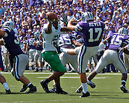 Marshall's Phillip Gamble (29) blocks Kansas State punter Tim Reyers' (17) punt in the second quarter.  The Thundering Herd recovered the blocked put and scored to tie the game at 7-7, at Bill Snyder Family Stadium in Manhattan, Kansas, September 16, 2006.  The Wildcats beat the Thundering Herd 23-7.
