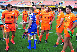 Cape Town-180217 Stomers Dewaldt Duvenage shakes hands with Jaguares disappointed players after their  opening game of the Super 15 at Newlands .photograph:Phando Jikelo/African News Agency/ANA