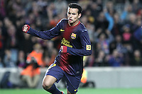 06.01.2013 Barcelona, Spain. La Liga day 18. Pedro after scoring during game between FC Barcelona against RCD Espanyol at Camp Nou